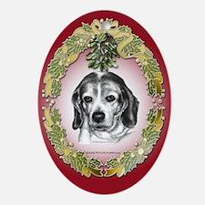 Beagle Christmas Oval Ornament
