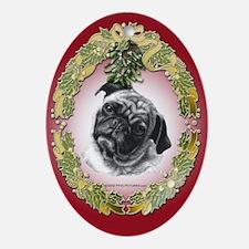 Pug Christmas Oval Ornament