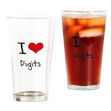 I Love Digits Drinking Glass