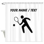 Custom Tennis Player Silhouette Shower Curtain