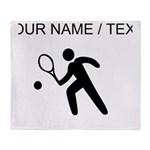 Custom Tennis Player Silhouette Throw Blanket