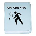 Custom Tennis Player Silhouette baby blanket