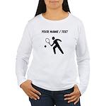 Custom Tennis Player Silhouette Long Sleeve T-Shir