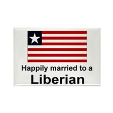 Happily Married To A Liberian Rectangle Magnet
