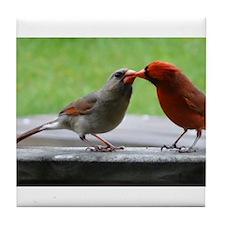 Kissing Cardinals Tile Coaster