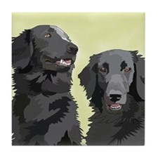 2 flatcoats Tile Coaster