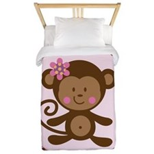 Girl Monkey Pink Twin Duvet