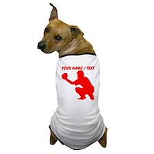 Custom Red Baseball Catcher Dog T-Shirt