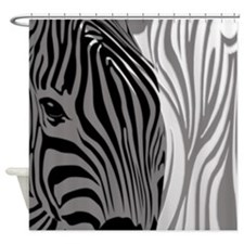 Fantasy Zebra - Gray Shower Curtain