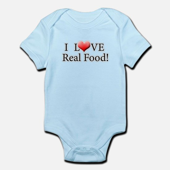 I Love Real Food Logo Body Suit