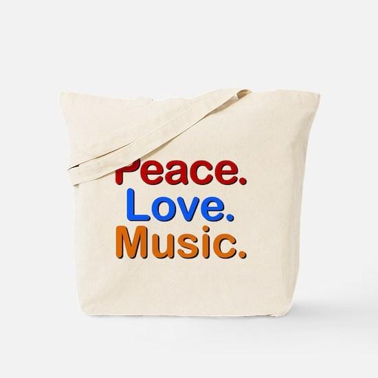 Peace Love Music Tote Bag