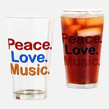 Peace Love Music Drinking Glass