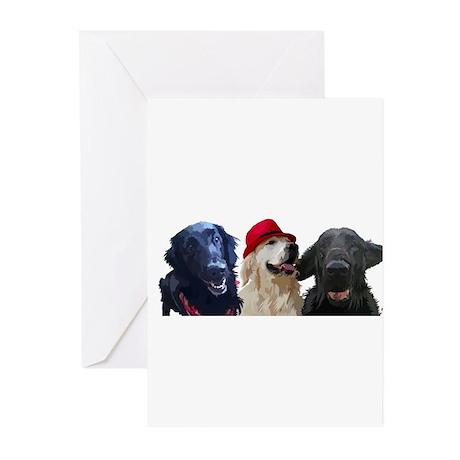 3 retrievers Greeting Cards (Pk of 10)