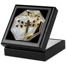 Dragonfly on Rock Black Keepsake Box