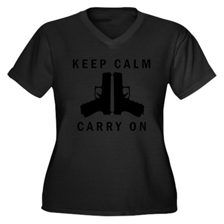 Keep Calm Carry On Women's Plus Size V-Neck Dark T