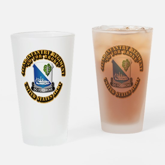 Army - DUI - 442nd Infantry Regt Drinking Glass
