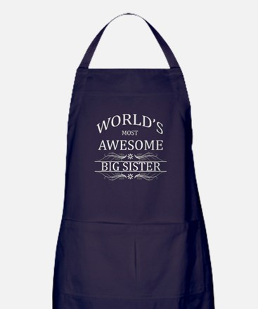 World's Most Awesome Big Sister Apron (dark)