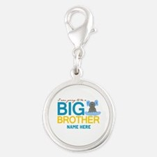 Add Name Big Brother Silver Round Charm