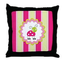 Cute Pink Ladybug Striped Throw Pillow