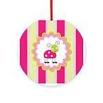 Cute Pink Ladybug Striped Ornament (Round)