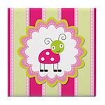 Cute Pink Ladybug Striped Tile Coaster
