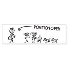 Stick Figure Family Woman Position Open Bumper Stickers