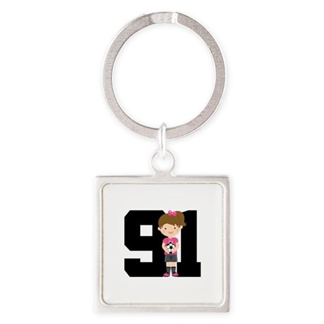 Soccer Sports Number 91 Square Keychain