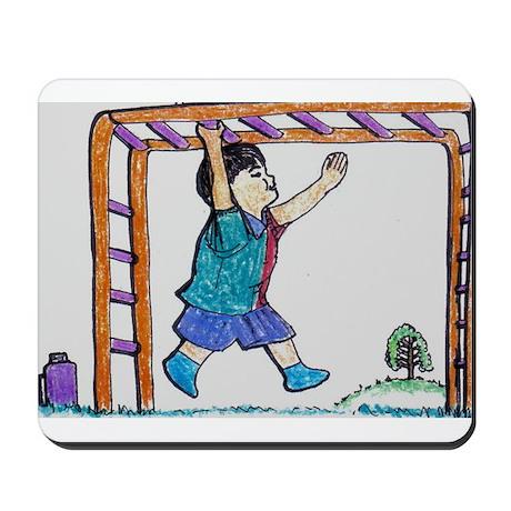 Little Boy on Monkey Bars - Cartoon Mousepad