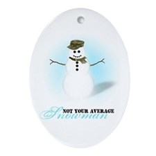 Camoflauge Snowman Oval Ornament