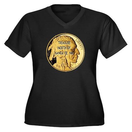 The Treasure Coin Women's Plus Size V-Neck Dark T-
