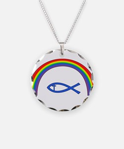 Rainbow Fish (cntr txt) Necklace