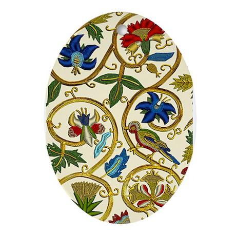 Elizabethan Swirl Embroidery Ornament (Oval)