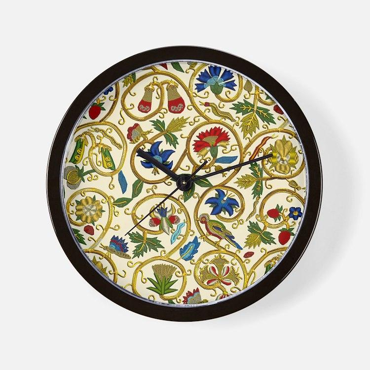 Elizabethan Swirl Embroidery Wall Clock