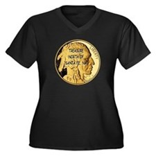 The Treasure Coin Women's Plus Size V-Neck Dark T-