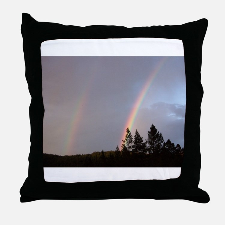 Double rainbow in Colorado Throw Pillow