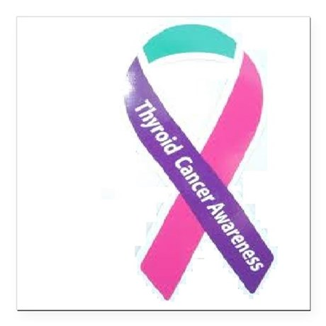 """thyroid cancer awareness Square Car Magnet 3"""" x 3"""""""