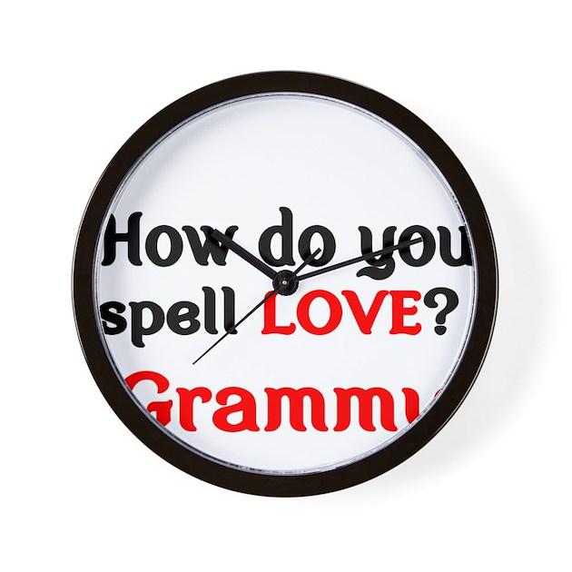How Do You Spell Love Grammy Wall Clock By TerriblyAmusingTees