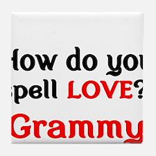 How do you spell Love Grammy Tile Coaster
