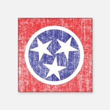 """Faded Tennessee Flag Square Sticker 3"""" x 3"""""""