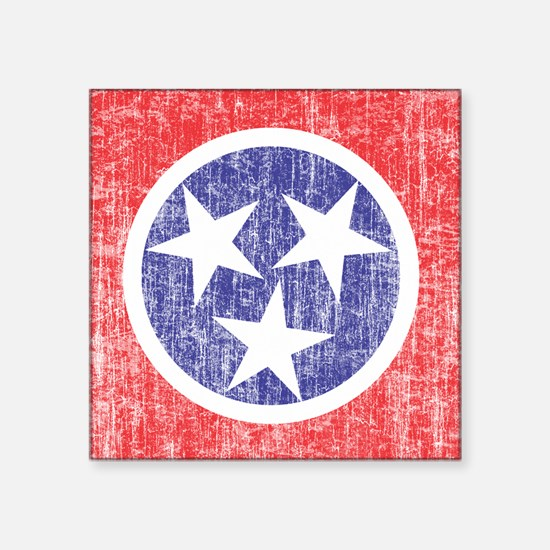 "Faded Tennessee Flag Square Sticker 3"" x 3"""
