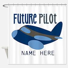 Add Name Future Pilot Shower Curtain