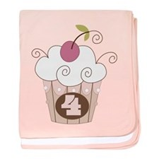 4th Birthday Cupcake baby blanket