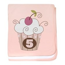 5th Birthday Cupcake baby blanket