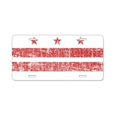 Aged Washington D.C. Flag Aluminum License Plate