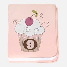 9th Birthday Cupcake baby blanket