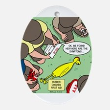 Rubber Chicken First Aid Ornament (Oval)