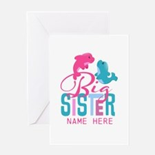 Custom Dolphin Big Sister Greeting Card
