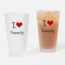 I Love Diversity Drinking Glass