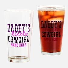 Custom Daddy's Little Cowgirl Drinking Glass