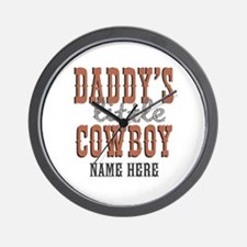 Add Name Daddy's Little Cowboy Wall Clock